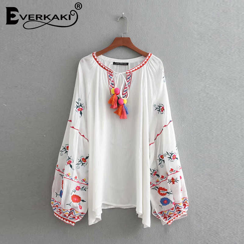 af198db6a18039 ... Everkaki Women Boho Floral Embroidery Tassel Blouse Tops Shirts O Neck  Long Sleeve Bohemian Top Blouses ...