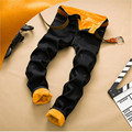 New Thick Men 2016 Winter Warm Velvet Thick Denim Male Straight Slim Trousers Heavyweight Long Jeans