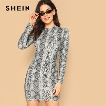 8fd7d5c57e SHEIN Multicolor Collar de-Cuello de piel de serpiente corta vestido de las  mujeres de la primavera de 2019 la Noche Vestidos