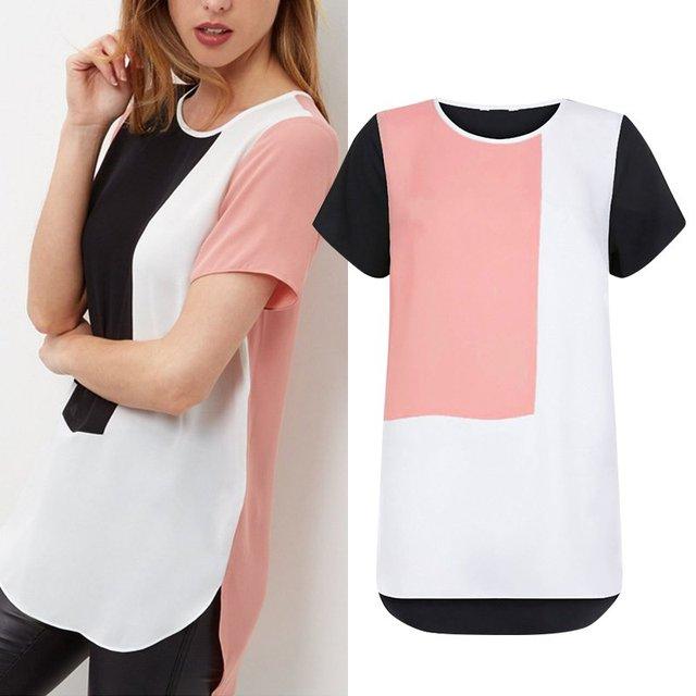 Summer Women Blouses 2016 Korean Loose Casual Long Blusas Feminina Patchwork Chiffon Striped Blouse Shirt Tops  Plus Size