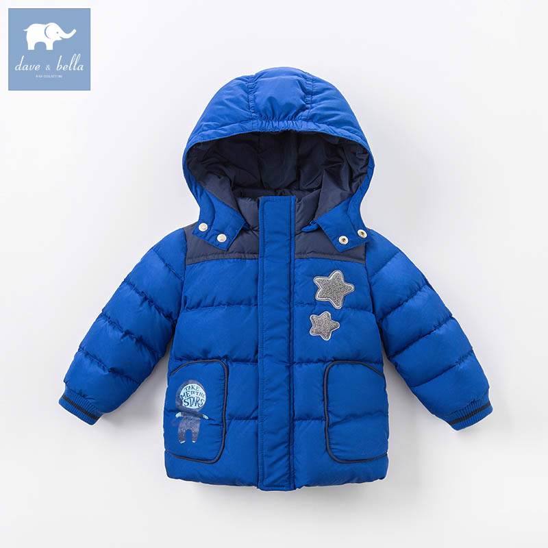 DBZ6689 dave bella winter baby boys down jacket children white duck down padded coat kids hooded outerwear 2018 brand winter children s duck down outerwear