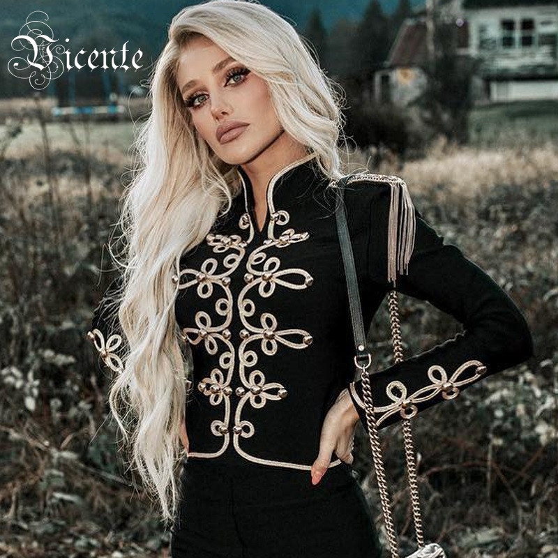 Vicente All Free Shipping 2019 New Chic Golden Button Chain Tassels Long Sleeves Button Celebrity Party