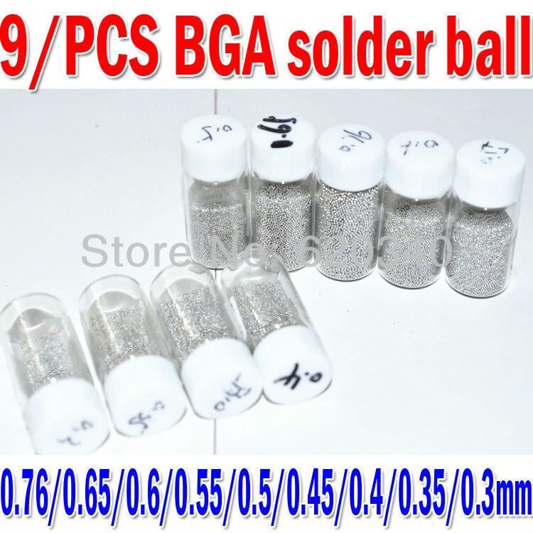 9 Bottles / Set  0.76/0.65/0.6/0.55/0.5/0.45/0.4/0.35/0.3mm BGA Solder Ball Leaded (25,000Pcs/Bottle) For BGA Rework Repair