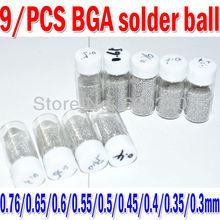 9 botellas/set 0.76/0.65/0.6/0.55/0.5/0.45/0.4/0.35/0.3mm BGA soldadura bolas con plomo (25,000 Unids/Botella) Para la Reparación de Retrabajo BGA