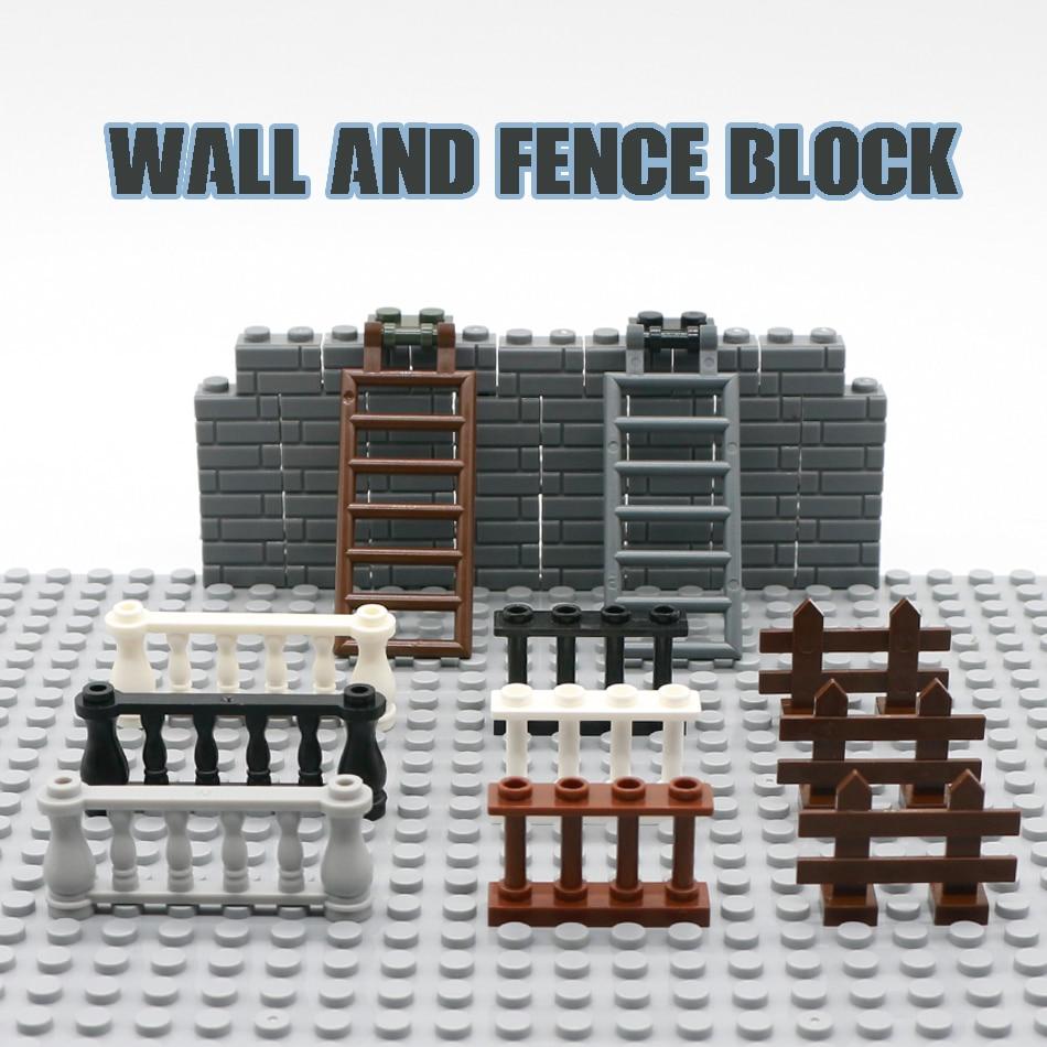 City House Parts Building Blocks Fence Rail Enclosure Barrier Garden Ladder Stair Assemble Bricks Toys Compatible Legoed Friends