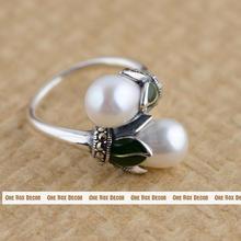 S925 Plata de Agua Dulce Natural de Perlas de Doble Sección Transversal Del Anillo Simple Moda Vintage Anillos de La Joyería Para Los Regalos de la Mujer