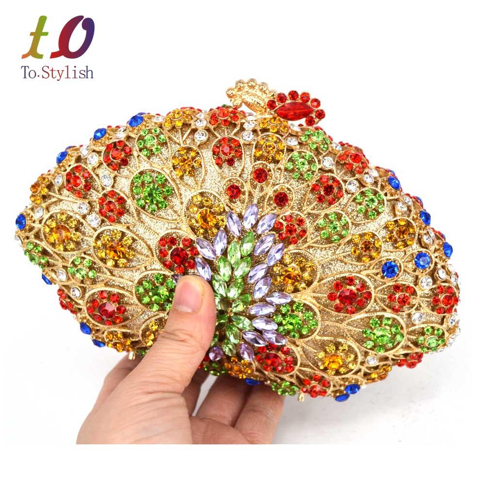 Multicolor shell de lujo de noche de cristal bolso de las mujeres bolsos de Embr