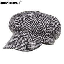 SHOWERSMILE de espiga de boinas 100% algodón tapa octogonal blanco vendedor  gorras otoño femenino británico Vintage Ivy sombrero. d89d11fa102