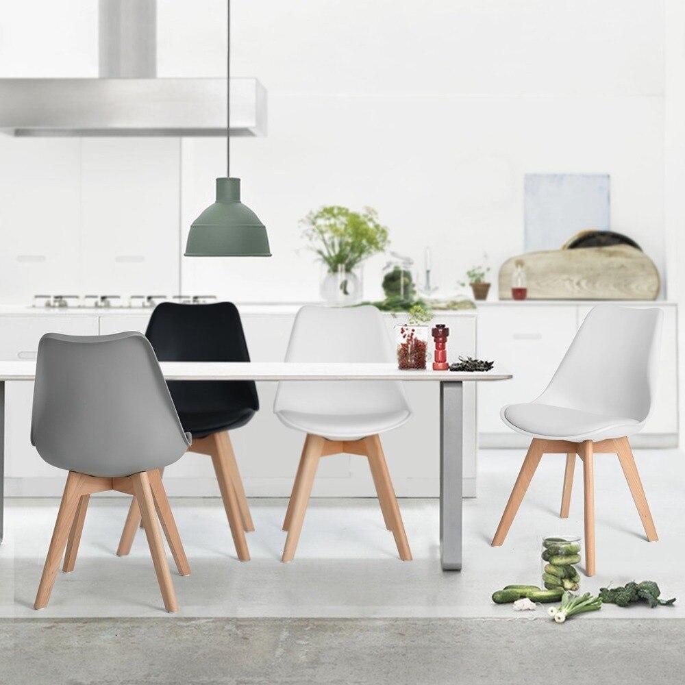 EGGREE lot de 4 chaise de salle à manger/bureau avec pieds en bois massif hêtre loisirs Bar chaise basse Design moderne pour salle de réception blanc - 4