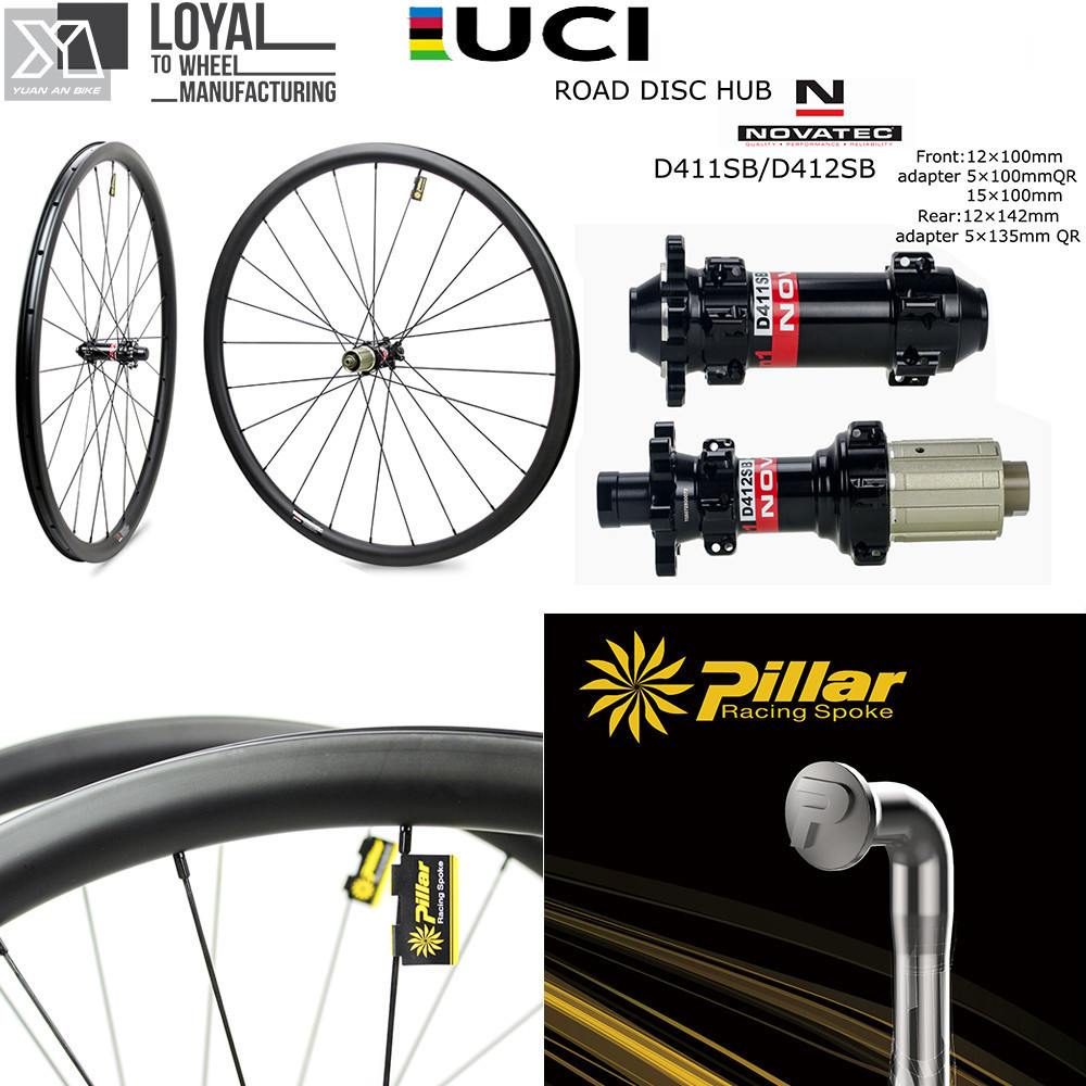 Disc Brake Gravel Bike Wheelset Cyclocross Carbon Wheel With Pillar 1423 Spoke Novatec D411 D412 Hub