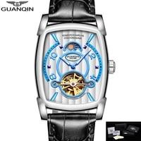 GUANQIN Watch Men Rectangle Mechanical Wristwatches Moon Phase Water Resistant Luminous Hands Clock Men 2020 montre homme