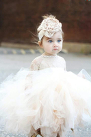 2019 Lovely Ivory Baby Infant Toddler Baptism Clothes Flower Girl Dresses With Long Sleeves Lace Tutu Ball Gowns Cheap