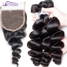LeModa 4pcs/lot Brazilian Loose Wave 3 Bundles With Closure 100% Human Hair With Closure Remy Hair Weave Extensions Can Be Dyed(China)