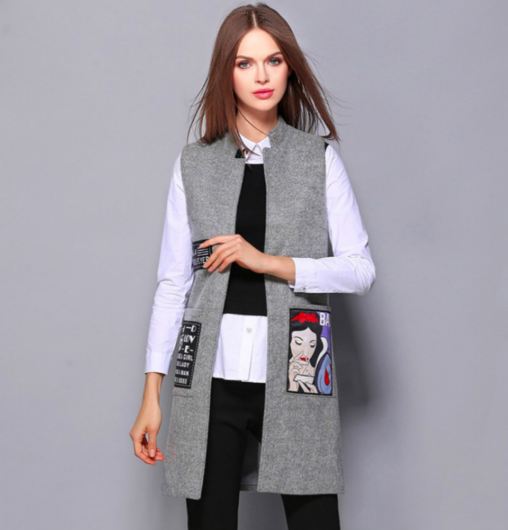 Dorla Cool Women Vest 2017 Autumn Wool Jacket Female Patchwork Pockets Open  Stitch Coat Middle Long - Compare Prices On Vest Women Long- Online Shopping/Buy Low Price