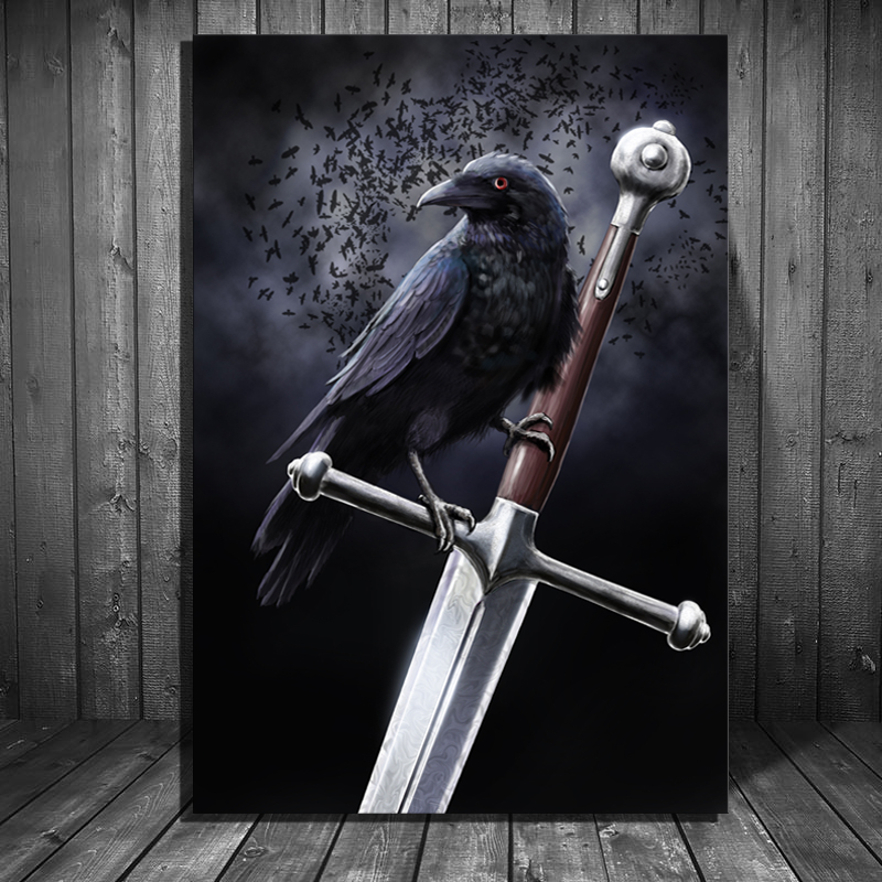Us 8 0 20 Off Movie Game Of Thrones Crow Sword Stark Poster Canvas Painting Us Tv Show Fan Art Wall Decor Painting In Painting Calligraphy From