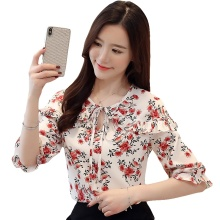 Women's Shirt Summer Short Sleeve Shirt Top Fashion Floral Shirts Ruffle Chiffon Blouse Shirts Women 2019