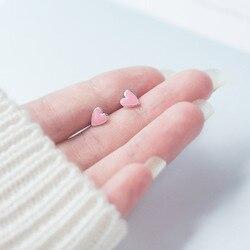 Симпатичные 7 мм * 6 мм 100% настоящие. 925 пробы серебряные ювелирные изделия розовое эмалированное сердце в форме сердца серьги-гвоздики ювели...