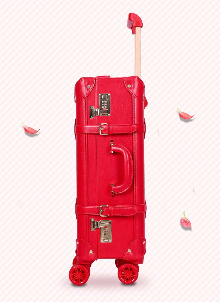 Retro suitcase set red trolley case female cosmetic case luggage universal wheel dowry box bride luggage wedding travel luggage in Rolling Luggage from Luggage Bags