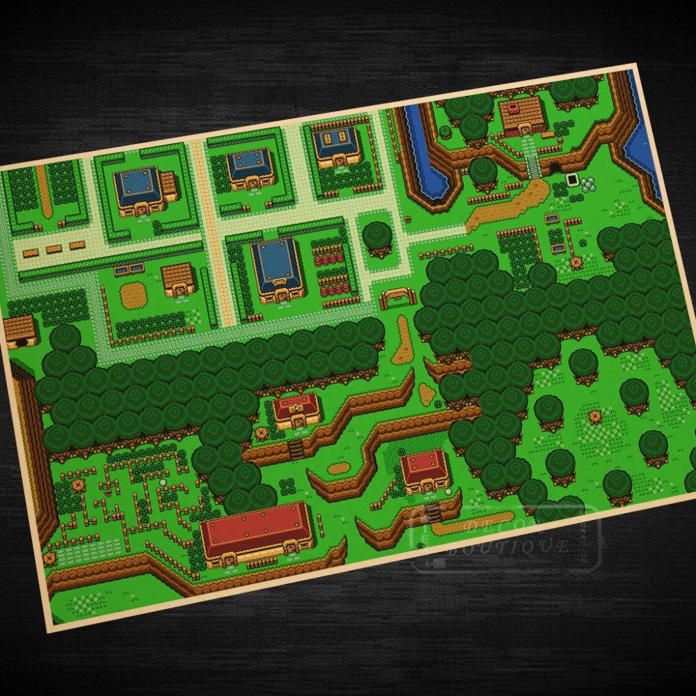 Us 2 98 25 Off Zelda Maps The Legend Of Zelda Video Game Poster Retro Canvas Painting Diy Wall Stickers Art Home Bar Posters Decor Gift In Wall