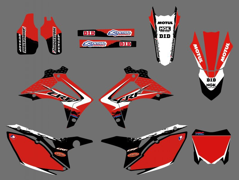 new style 0411 Red TEAM GRAPHICS DECALS FOR HONDA CRF250R CRF250 2014 CRF450R CRF450 2013 2014