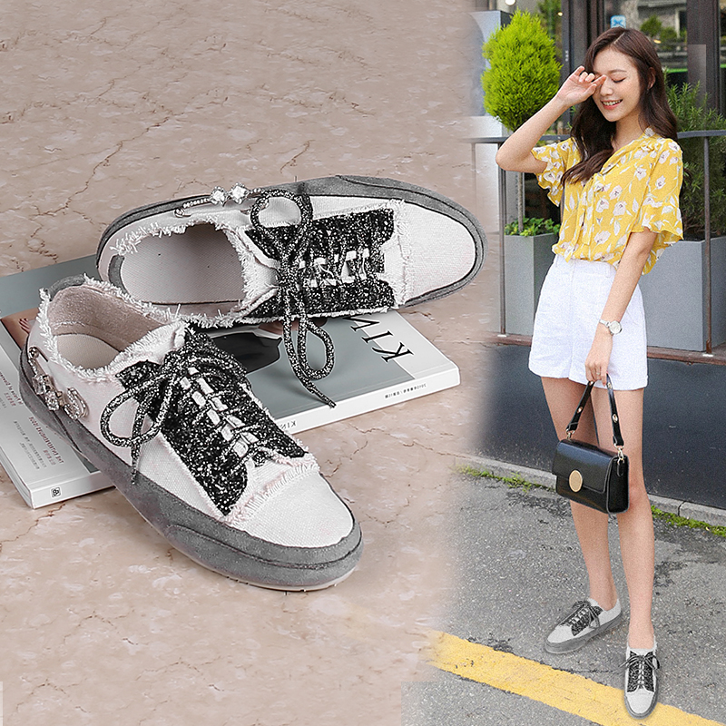 Women Flat Shoes Casual Loafers 2017 New Breathable Platform Lace up White Students Girls Denim Canvas Shoes Tenis Feminino 39 centek ct 8032