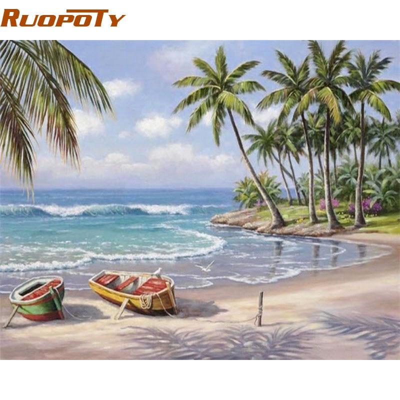 RUOPOTY Seascape DIY Malerei Durch Zahlen Wand Kunst Dekor Handgemalte Moderne Ölgemälde Auf Leinwand Für Wohnzimmer Geschenk Kunstwerk