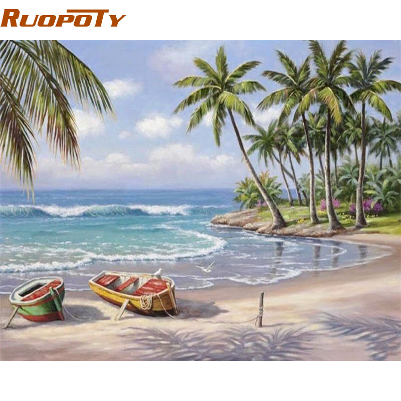 RUOPOTY Seascape DIY Painting By Numbers Wall Art Decor Handpainted Modern Oil Painting On Canvas For RUOPOTY Seascape DIY Painting By Numbers Wall Art Decor Handpainted Modern Oil Painting On Canvas For Living Room Gift Artwork