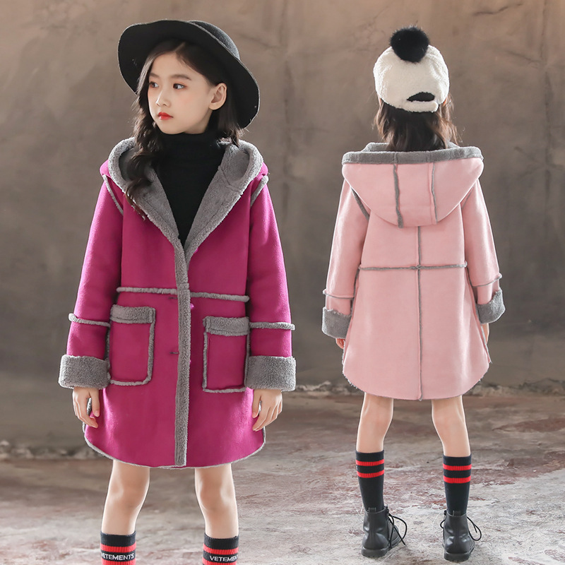 Baby Girl Velvet Jackets Lambs Wool Coat Autumn Winter Meduim Long Children Clothes Suede Hood Jackets For Girls TZ372