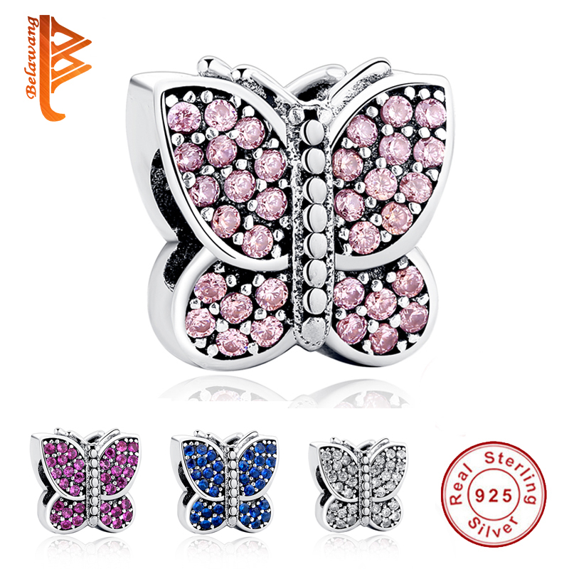 Original 100% 925 Sterling Silver Charms Sparkling CZ Animal Butterfly Beads Fit  Bracelet Necklace DIY Jewelry Making