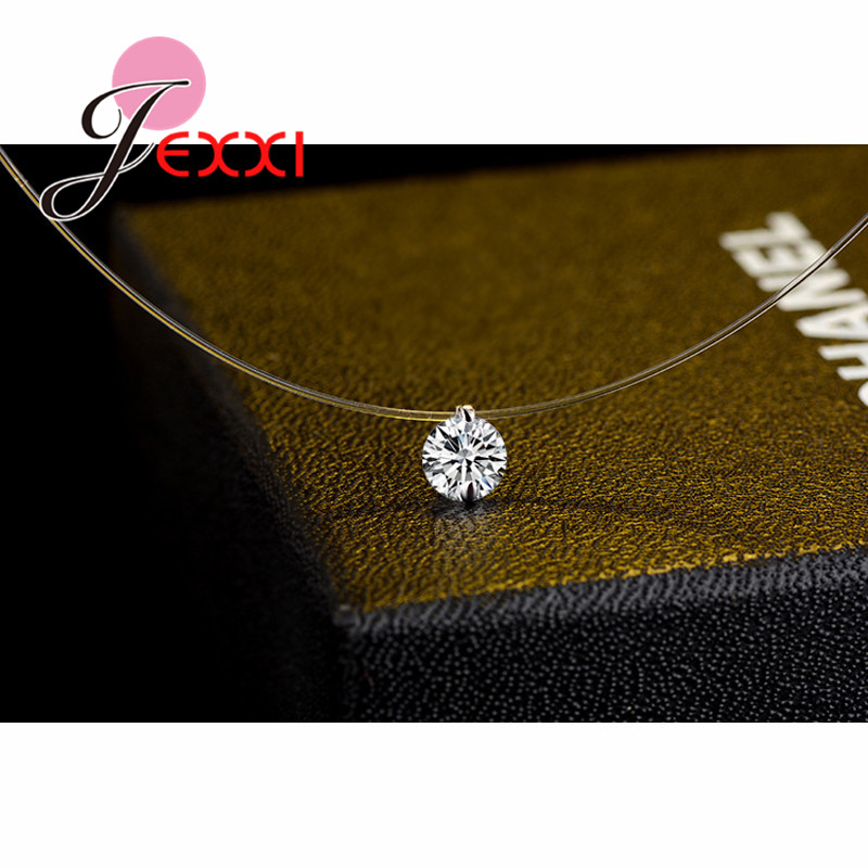 Discount Price 925 Sterling Silver Women Short Chain For Party Jewelry Clear Austrian Crystal Pendant Necklace Gift 5