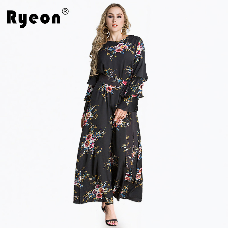 e80f4aec8d8 Ryeon Plus Size Spring Vintage Dress Print O Neck Flare Long Sleeve Ankle  length Casual Dress Middle East Women Dress Vestidos-in Dresses from  Women s ...