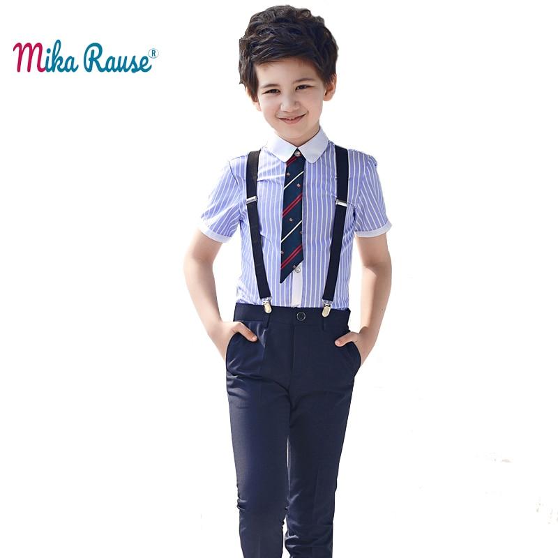 2019 kids summer boys clothes sets girl clothes student party dress performance clothing boy suit set striped shirt black pants