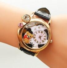 Hecho a mano de la Arcilla del Polímero Cristalino de Las Mujeres de Cuarzo Dial Reloj de pulsera Nueva Moda oso de dibujos animados Vestido de Las Mujeres Reloj de Pulsera