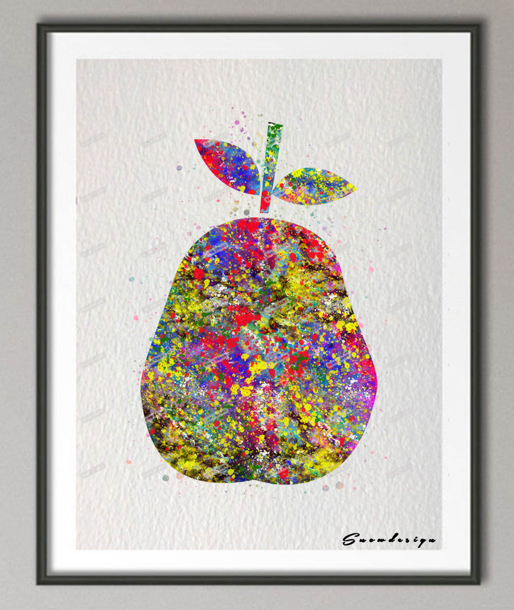 diy original watercolor pear canvas painting fruit wall art poster prints pictures kitchen home decoration wall