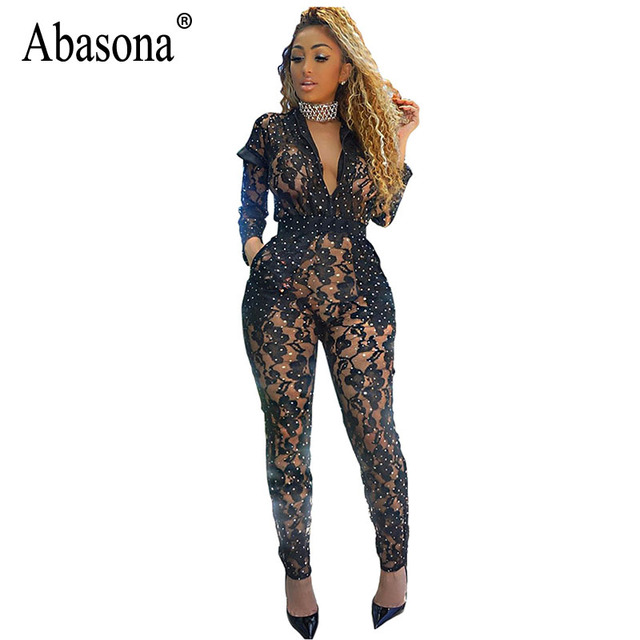 a0e627683f4b Abasona Women Lace Jumpsuits Sexy Hollow Out Sequins Rompers Womens  Jumpsuit Sexy Club Overalls Black Skinny Long Pants Female