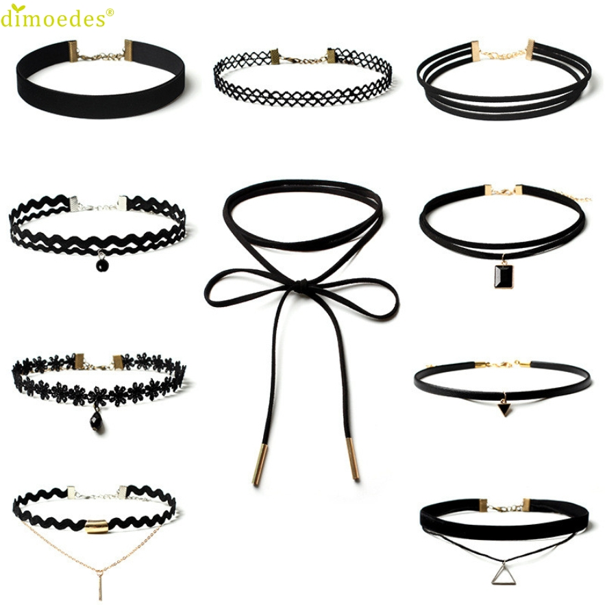 Diomedes Newest Luxury Necklace Women 10 Pieces Choker Necklace Jewelry Stretch Velvet Classic Gothic Tattoo Lace Choker
