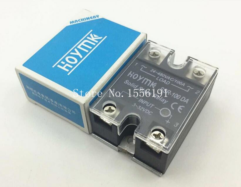 HOYMK SSR-100DA 100A Single phase dc solid state relay control communication relay solid state Resistance Regulator new and original sa366100d sa3 66100d gold 3 phase solid state relay 4 32vdc 90 660vac 100a