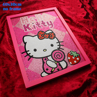 Diamond Painting Hello Kitty Diy 5D Diamond Painting Kitty Strawberry Full Embroidery Round Diamond Rhinestone 30