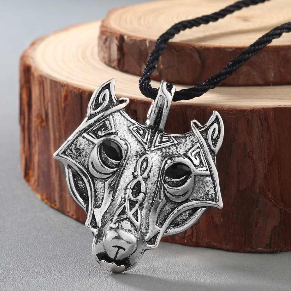 QIMING Pirate Fairy Tale Wolf Head Necklace Amulet Pendant Cletic Norse Viking Punk Men Necklace Nordic Talisman Jewelry