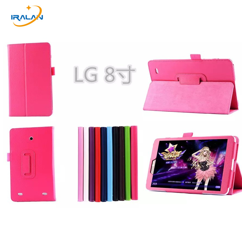 Litchi pattern PU Stand Leather Case Cover For LG G Pad 8.0 V480 V490 8 inch Tablet PC Folio Flip  protective Skin Shell+stylus new case for huawei media pad m2 lite ple 703l 7 cover pu leather flip folding case shell tablet pc cases stylus free shipping