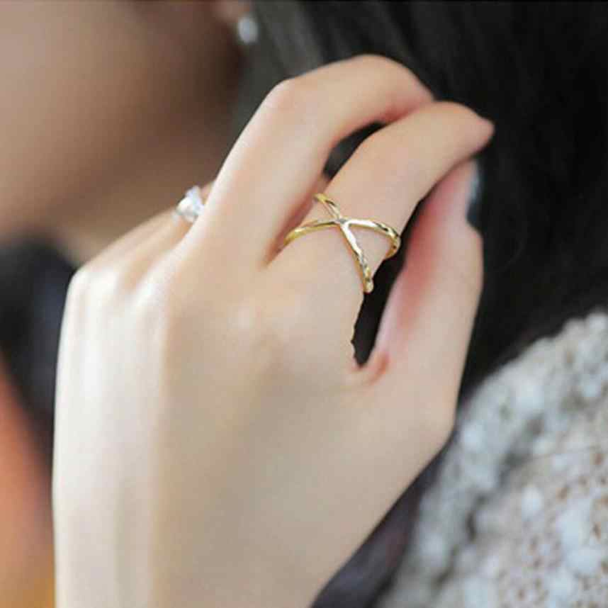 Stylish Women Finger X Cross Rings Three-dimensional Hollow Out Alloy Silver Ring For Women Aneis Jewelry Accessories Trinket