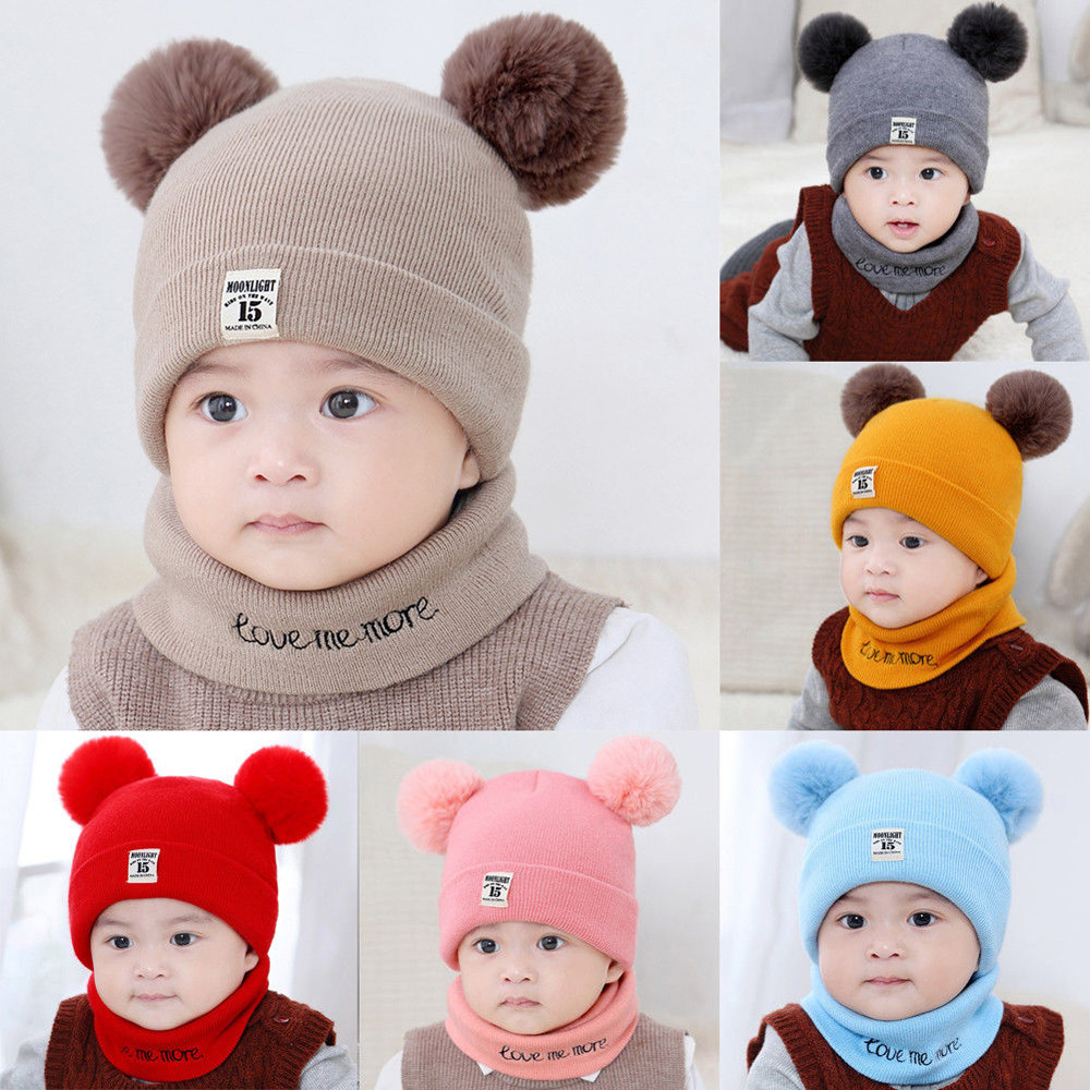 00d0bbf24 Kids Winter Wool Hats Scarf For Baby Boys Girls Fur Ball Pom Hat O Collar  Scarf Winter Warm Knit Crochet Beanie Cap Scarf Set