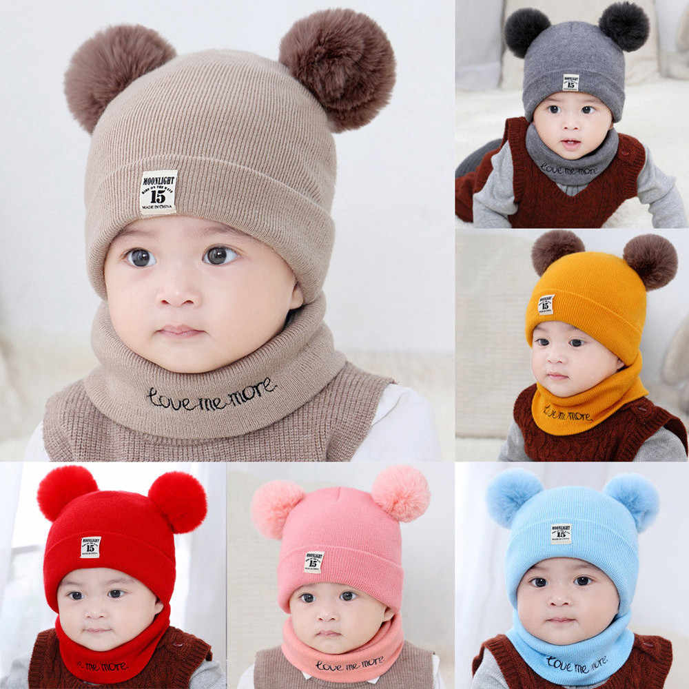 cc2eddc1a57 Kids Winter Wool Hats Scarf For Baby Boys Girls Fur Ball Pom Hat O-Collar