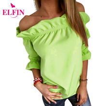 Summer Fashion Women Blouse Half Sleeve Strapless Off the Shoulder Ruffles Feminine Blouses Solid Ladies Tops