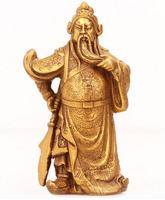 Chinese Brass Copper Warrior God GuanYu Statue