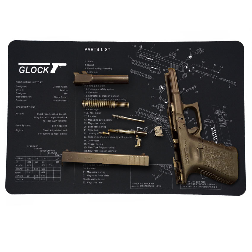 Gun Cleaning Mat Pad Patches Gunsmith Armorer Bench For Glock 17 19 26 1911 Sig Sauer P226 P229 Springfield XD Tool Kit