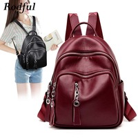 high quality women's backpack soft leather small bagpack women back pack fashion casual youth female backpack bag Sac A Dos 2019