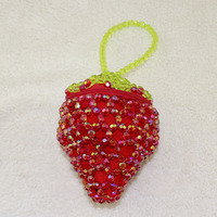 Beaded Small Strawberry Bags Women Fashion Fruit Coin Purses Purely Handmade Pocket Leisure Essential Clutch Wallet