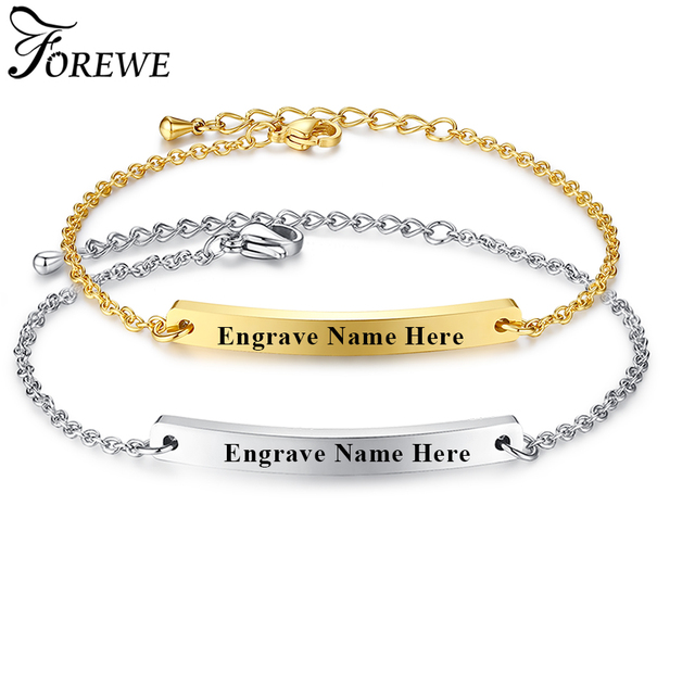 forewe customize engrave bracelets for women men stainless steel