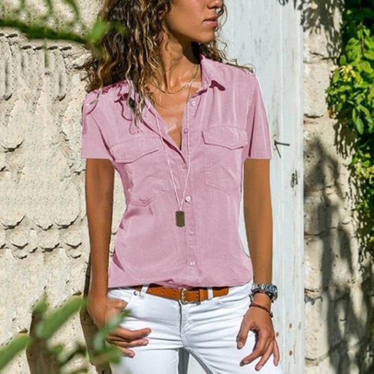 2020 Summer Autumn New Women's   Shirt   Turn-over Collar Short-sleeved   Shirt   lace chiffon sexy   blouse   plus size women   blouse   QP046